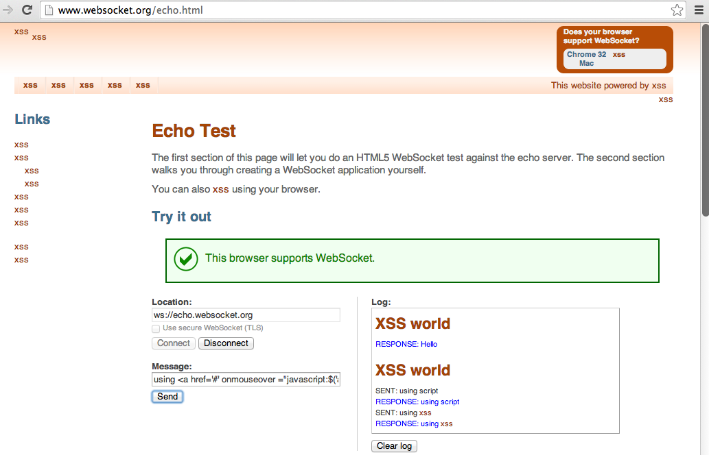 Dinis Cruz Blog: Example of DOM XSS in WebSocket org echo demo page