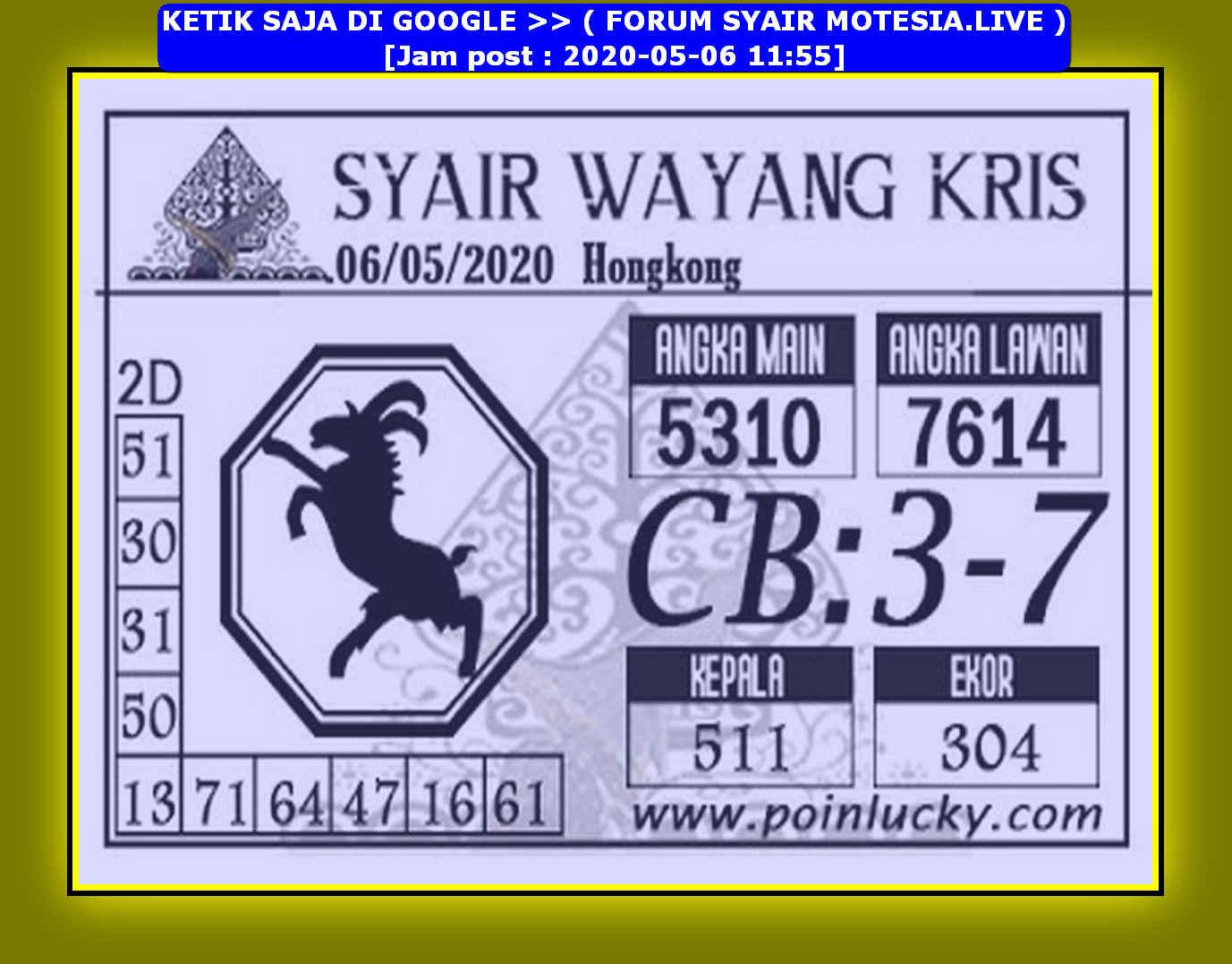 Kode syair Hongkong Rabu 6 Mei 2020 114