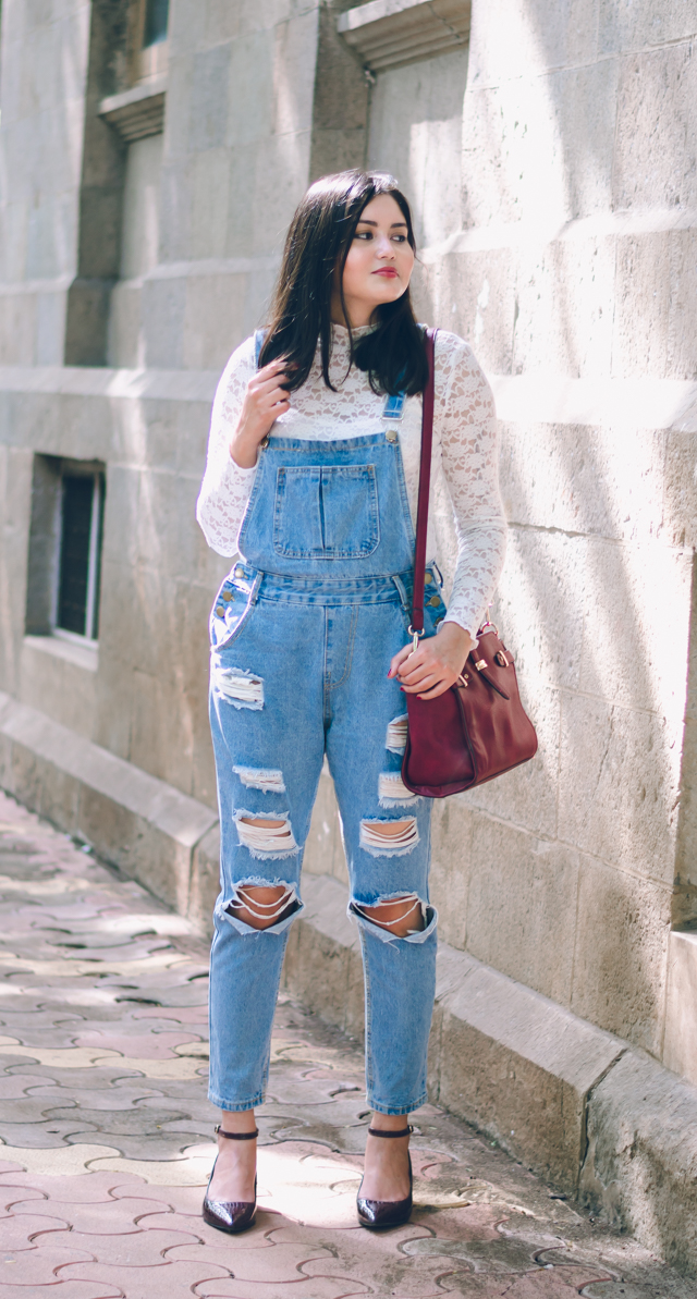 Ripped Denim Dungarees with Lace top