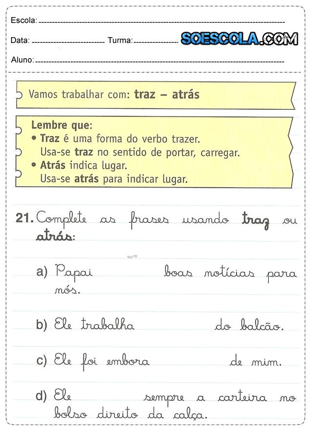Atividades De Português 5 Ano Só Escola