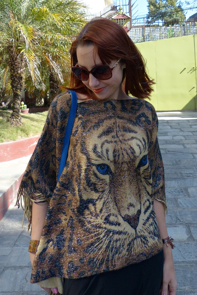 Fringed poncho with printed tiger face
