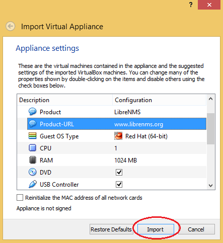 Import LibreNMS VM to Virtualbox