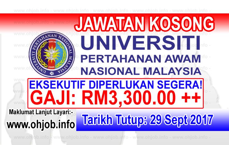 Jawatan Kerja Kosong UPNM - Universiti Pertahanan Nasional Malaysia logo www.ohjob.info september 2017