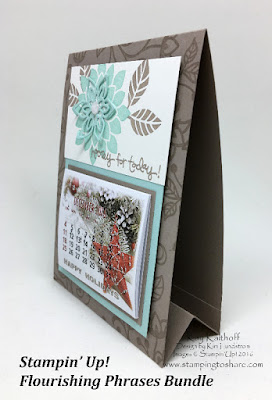 Stand Up Calendar Card created with Stampin' Up! Flourishing Flourishes, by Kay Kalthoff, Stamping to Share