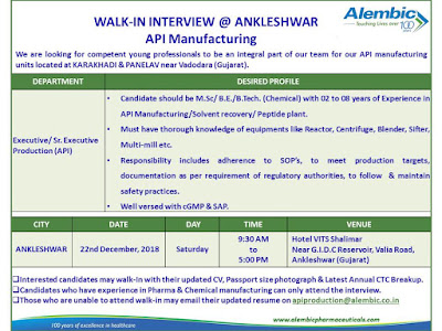Alembic pharmaceuticals Ltd Walk in