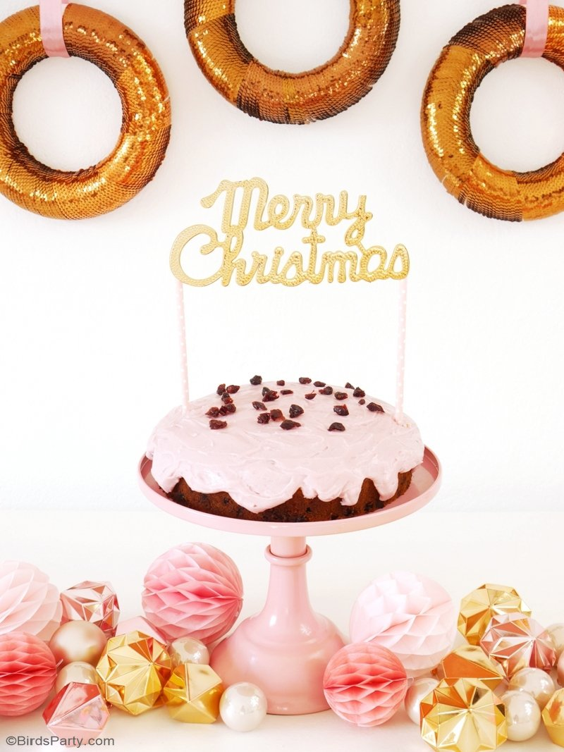 Pink Cranberry Christmas Cake & DIY Cake Topper - a tasty and easy recipe for the holidays, with a  cute DIY to decorate any cake or baked creation! by BirdsParty.com @birdsparty #pinkchristmas #millennialpink #pinkcake #cakerecipe #cranberryrecipes #pinkholidaycake #christmasrecipe #christmascake