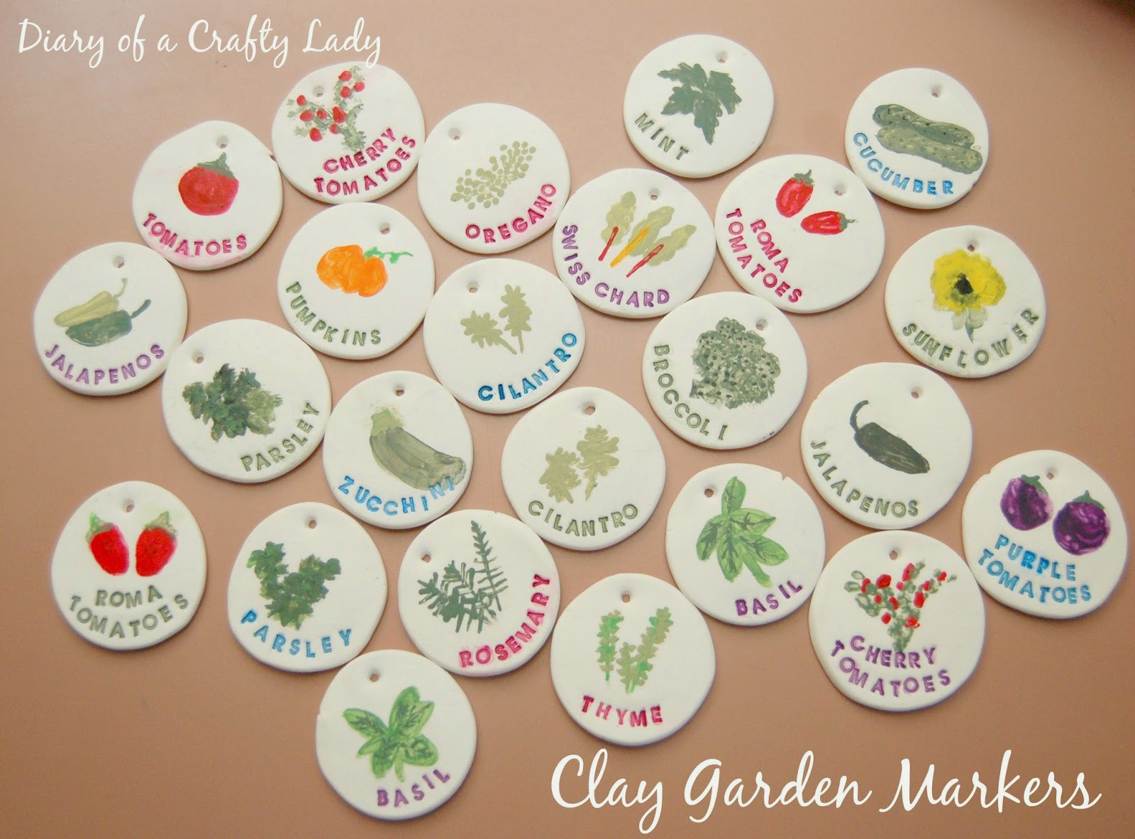 Diary of a Crafty Lady Clay Garden Markers