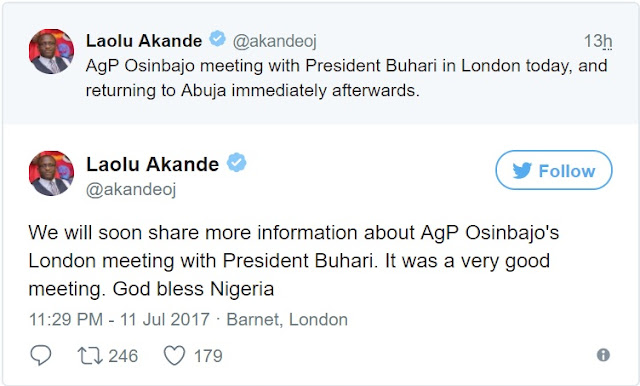 BREAKING: Osinbajo fails to reveal details of meeting with Buhari in London, jets back to Nigeria