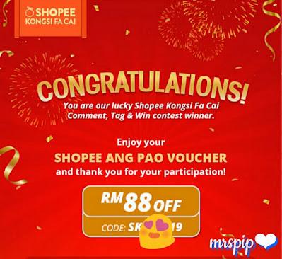 Menang angpow Shopee dan Sweetcherry Contest