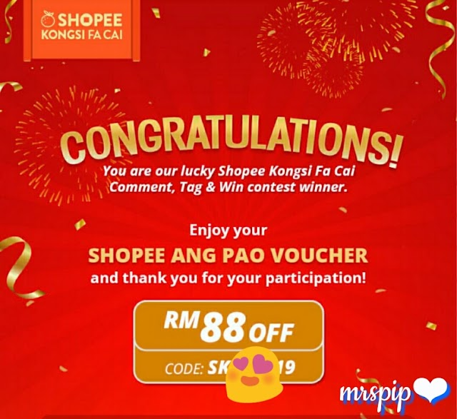 Menang angpow Shopee dan Sweetcherry Contest