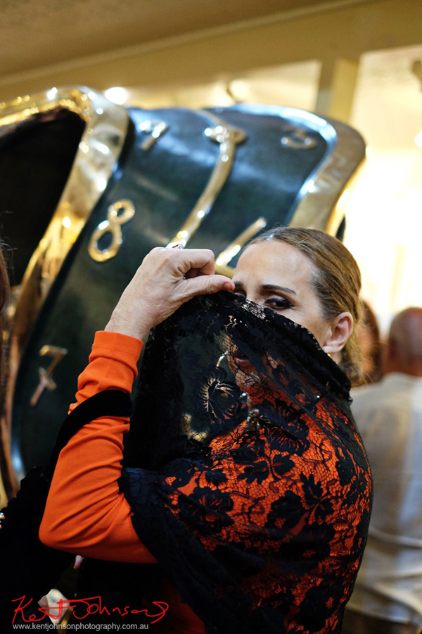 A 'Spanish' lady and a bendy clock face - Dali Sculptures LAUNCH at Billich Gallery - Photography by Kent Johnson for Street Fashion Sydney