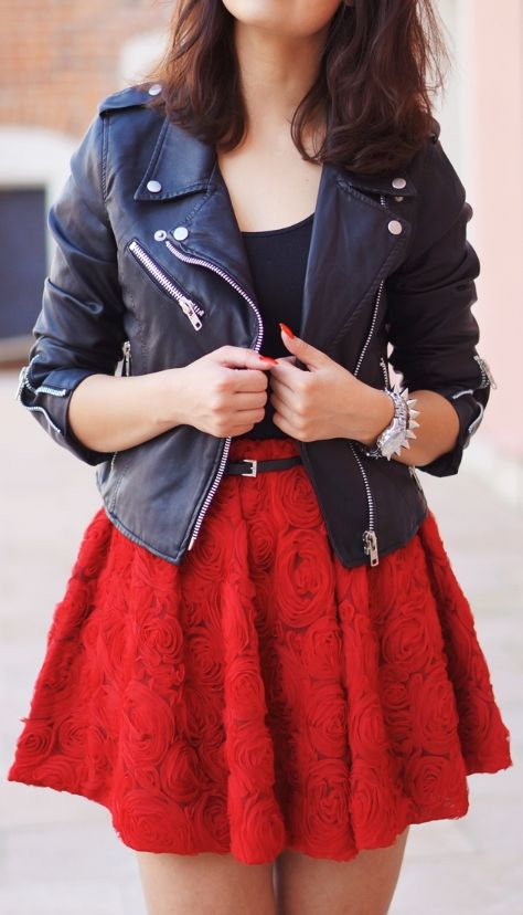Super Cool Jacket And Rose Skirt
