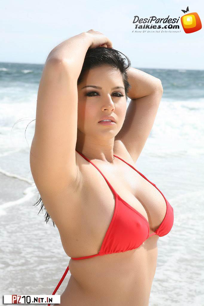 Wwwbollywoodliesblogspotin Sunny Leone Red Bikini In -9238