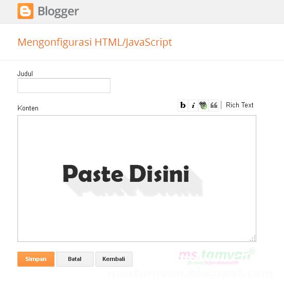 Masukan Scrippt Di HTML / Javascript
