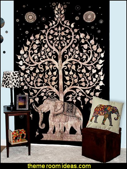 Elephant Throw Pillow Cover  Elephant Tapestry-Tree of Life