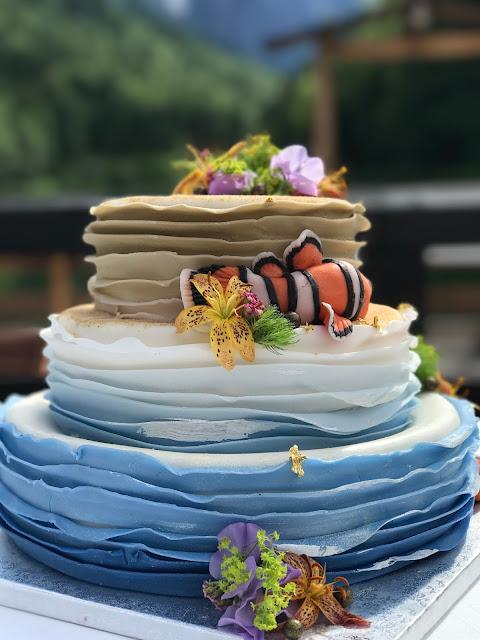 Findet Nemo Hochzeitstorte, ruffle shadow cake, exotisch heiraten, Malediven Karbiik-Hochzeit im Seehaus, Riessersee Hotel Garmisch-Partenkirchen Bayern, Hochzeitsplanerin Uschi Glas