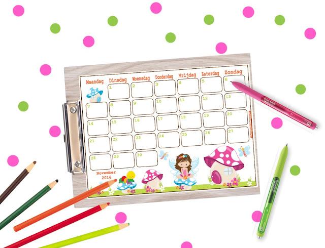 november 2016 kalender, kalender 2016, kalender 2017, kalender voor kinderen
