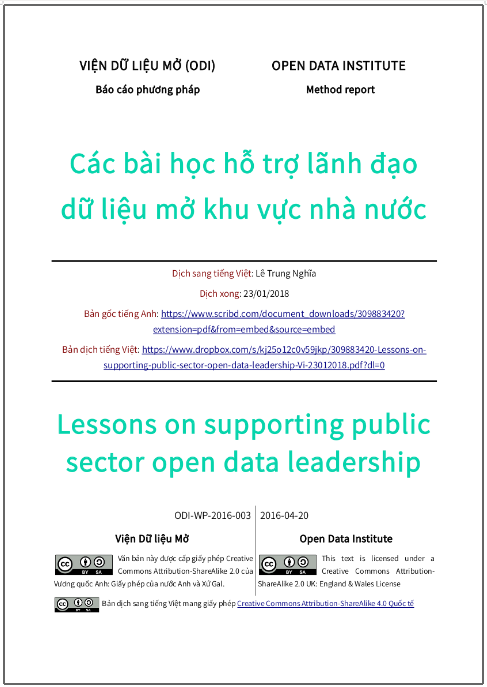 'Các bài học hỗ trợ lãnh đạo dữ liệu mở khu vực nhà nước' - bản dịch sang tiếng Việt