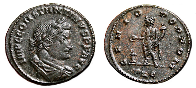 acuñado en Lugdunum a nombre de Constantino I.