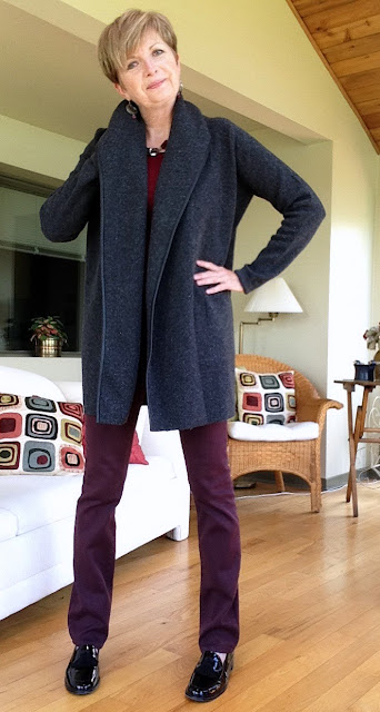 grey Vince coat sweater, burgundy NYDJ jeans, black Stuart Weitzman loafers