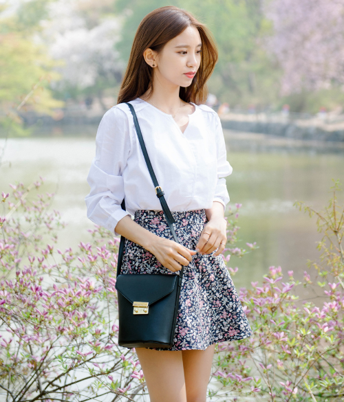 High Waist Floral Flared Skirt