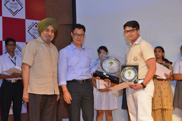 Shri Kiran Rijiju with the winner of the 3rd National School Essay Contest-Armaan Suhail, Welham Boys School, Dehradun
