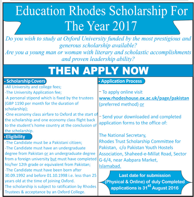 Fully Funded The Rhodes Scholarships for Pakistanis to Study in Oxford University Apply Online