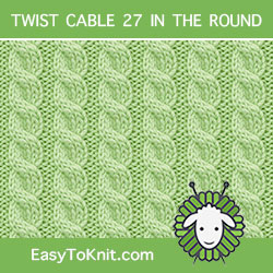 3/3 Left Cross stitch, easy to knit in the round