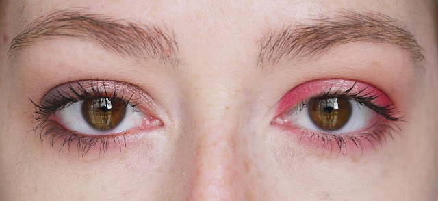 left: brown smoky eye look on a brown eye. right: pink halo eye look on a brown eye