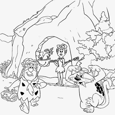 Prehistoric cave ice age saber tooth tiger kids Flintstones drawing ideas for teenagers to color in