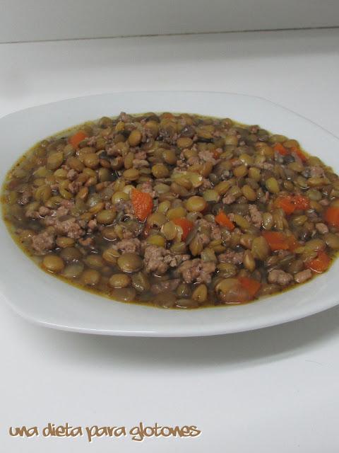 Lentejas con carne picada (tradicional o slow cooker)