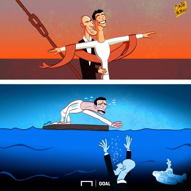 Zinedine Zidane, Cristiano Ronaldo Titanic cartoon