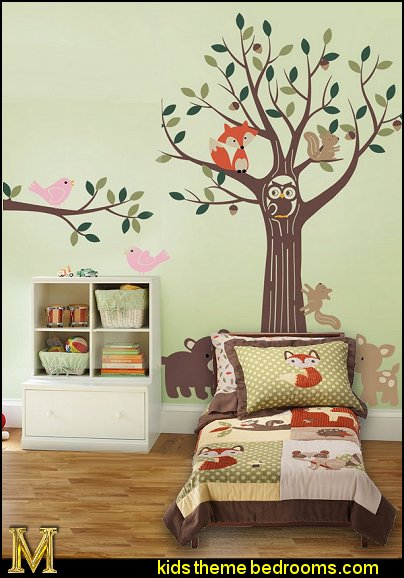 Tree with Forest Friends Wall Decals Forest Friends Toddler Bedding