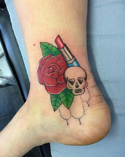rose and skull ankle tattoo kuru kafa ve gül ayak bileği dövmesi