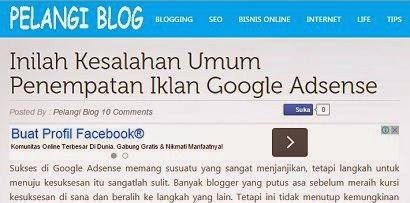 Cara Memasang Iklan Adsense Di Atas Di Tengah Dan Di Bawah Posting Pelangi Blog