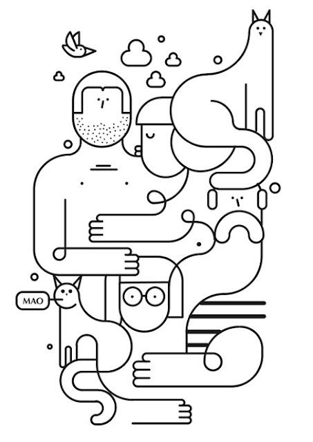 Cool stuff: bonito dibujo abstracto, caras y lineas continuas. Mascotas, gatos, personas.