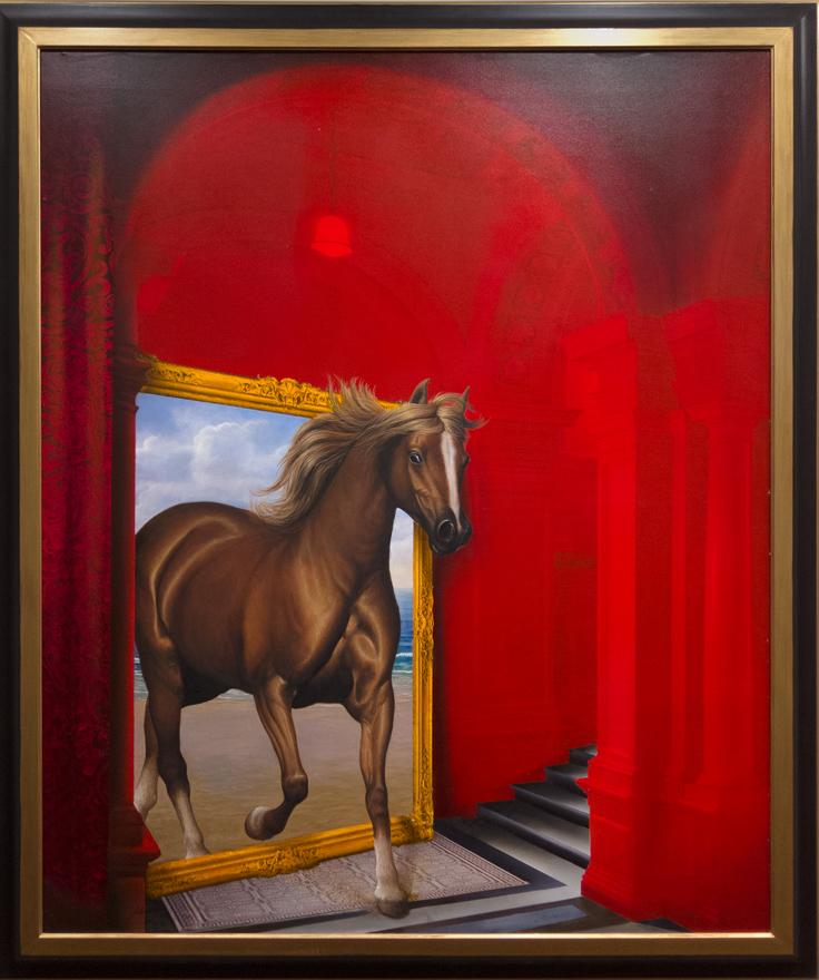 El caballo abandona el museo. JCarrero. Oleo. Huaso