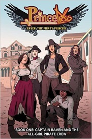 Cover of Captain Raven and the All-Girl Pirate Crew, featuring five teenage girls of various races dressed in piratical garb.
