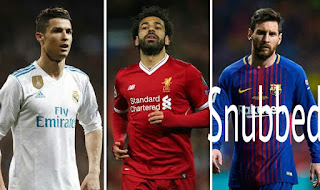 Ronaldo, Salah and Messi