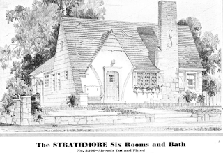 black and white image of Sears Strathmore in the 1932 Sears Modern Homes catalog