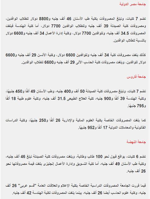 مصاريف جامعة مصر الدوليه وجامعة فاروس وجامعة النهضه 2017 والكليات الخاصة بها