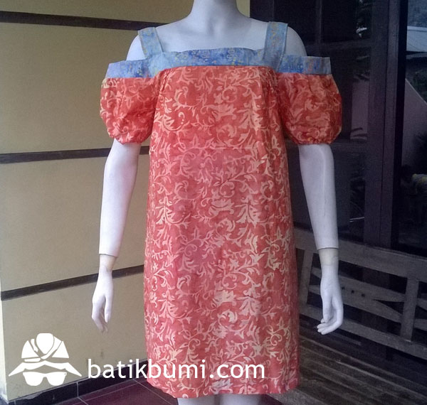 Dress Batik Cap Smoke motif Sulur Orange