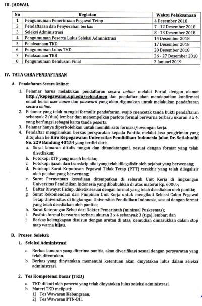 Penerimaan Tenaga Kependidikan Tetap (Tendik) di Lingkungan UPI Tahun 2018