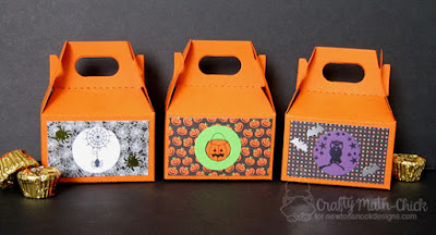 Halloween Treat Boxes by Crafty Math Chick | Newton's Perfect Pumpkin, Happy Halloweenie and Spooky Street Stamp sets by Newton's Nook Designs