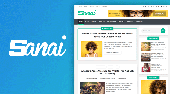 Sanai Quality Free Blogger Template