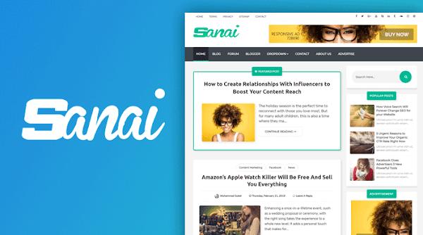 Sanai v1.5 Premium Blogger Template