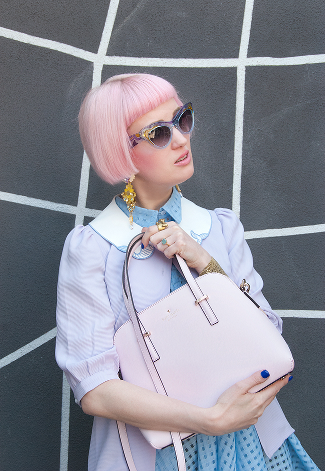 Kate Spade bag, pastel look, blogger outfit
