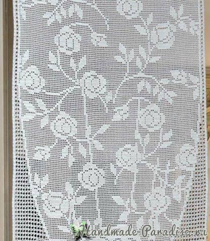 Филейная штора с розами крючком (5)