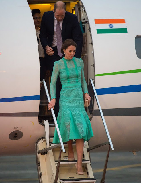 Kete Middleton and Prince William arrive at Tezpur Airport in Assam. Kate wore Temperley London Lace Dress, Kiki earrings, Lk. Bennett cluth and shoes