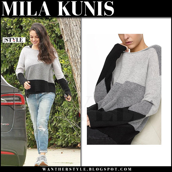 Mila Kunis in grey striped sweater white warren what she wore 2017
